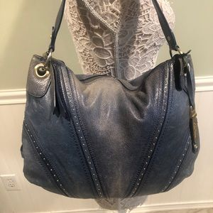 Cole Haan Blue Leather Hobo Bag with Silver Studs